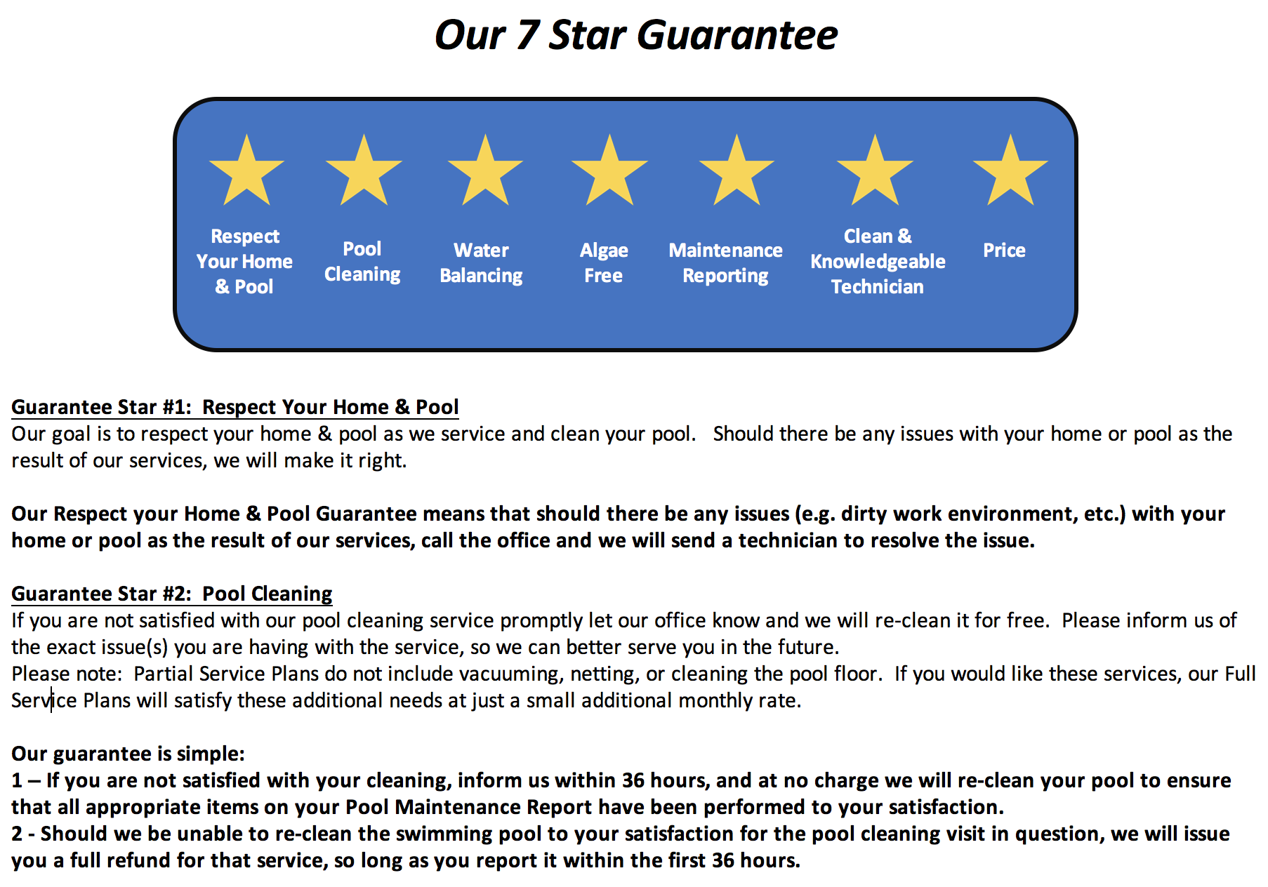 7 Star Allen Pool Service Guarantee